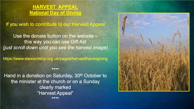 Harvest Thanksgiving / National Day of Giving